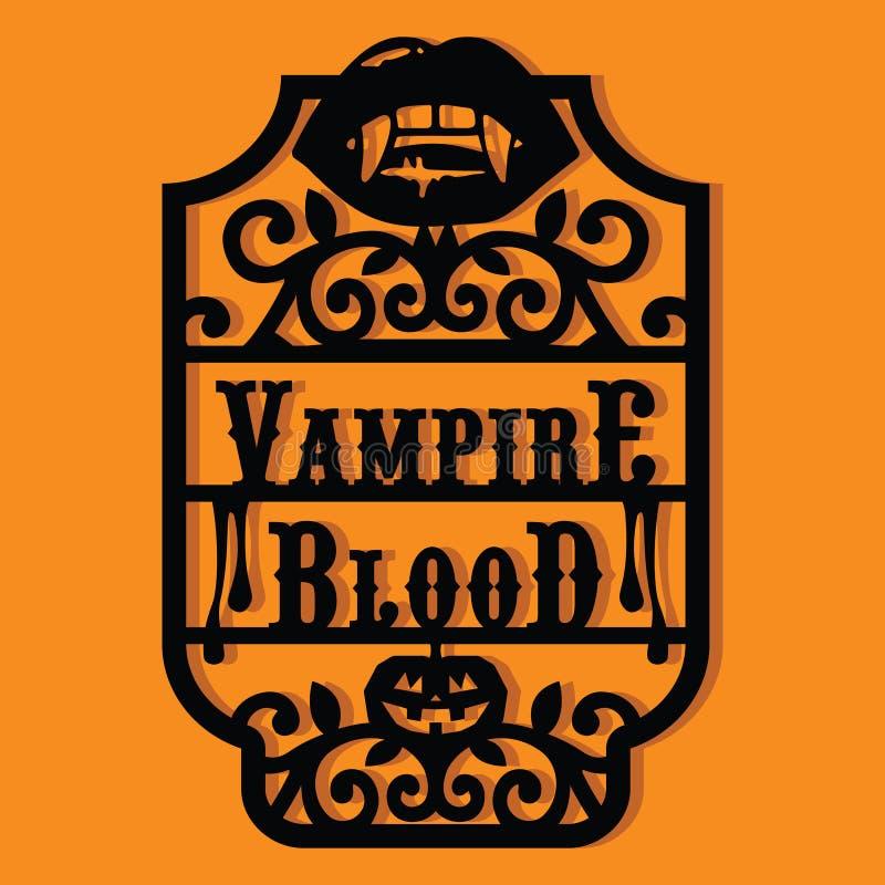 Geschnittener Schattenbild-Halloween-Vampirs-Blut-Weinlese-Rahmen-Papieraufkleber stock abbildung