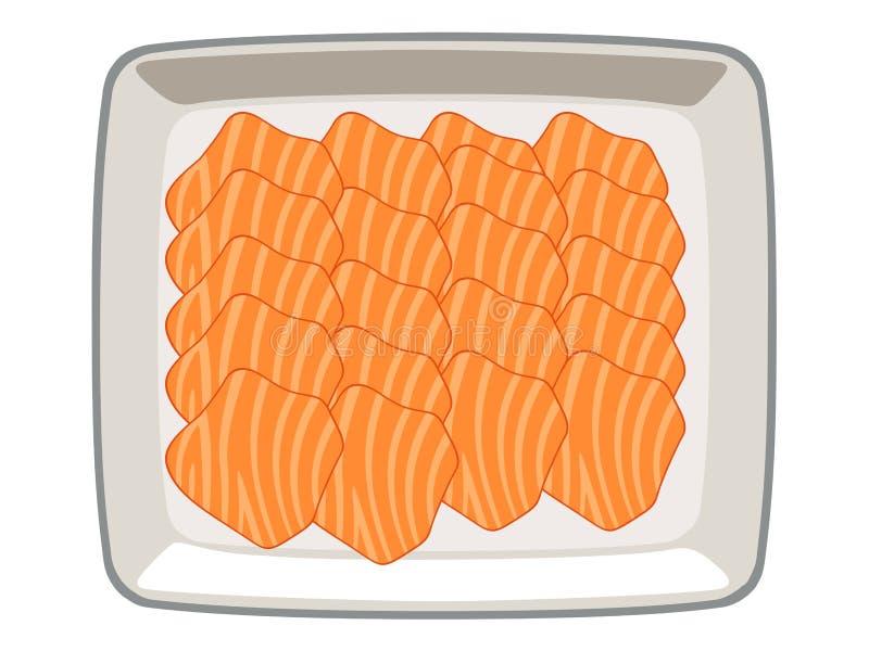 Geschnittenes †‹â€ ‹â€ Lachs‹in einer Platte auf einem weißen Hintergrund lizenzfreie abbildung