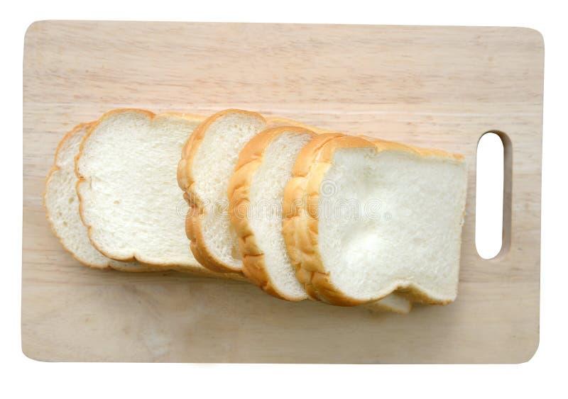 Geschnittenes Brot auf weißem Hintergrund (Beschneidungspfad) stockbild
