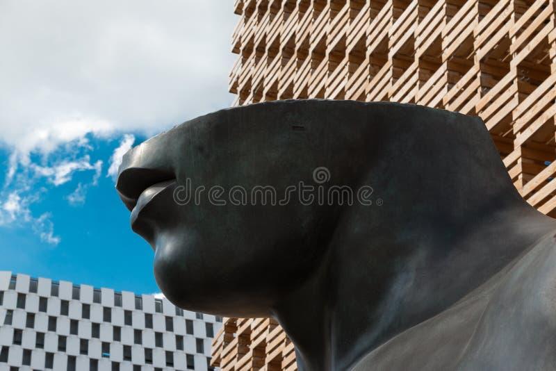 Geschnittenes Gesicht: schwarze Statue mit nur Hals, Backe, Mund und den Lippen stockbild