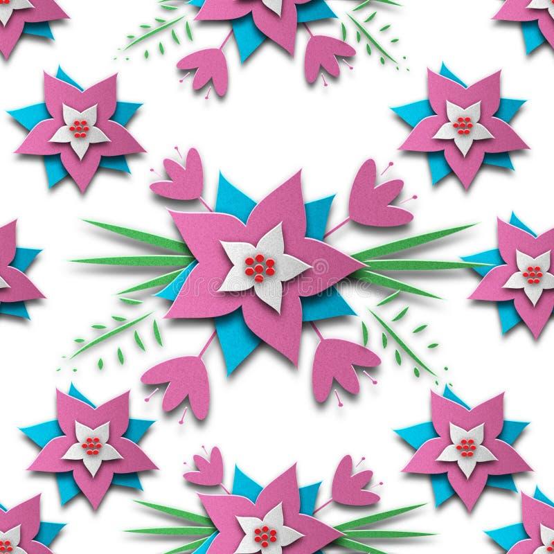 Geschnittenes nahtloses Muster der Blume Papier lizenzfreie stockfotos