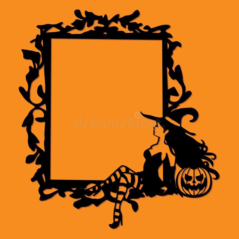 Geschnittenes Schattenbild-wunderliches gotisches Rahmen-Halloween-Weinlese-Papierse stock abbildung