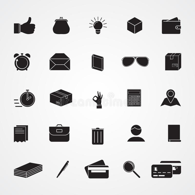Geschnitzte flache Ikonen des Schattenbildes, einfacher Vektor Sammlung von grundlegendem lizenzfreie abbildung