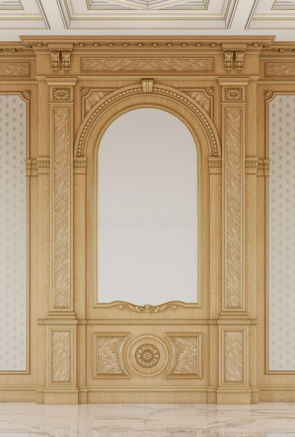 Geschnitzte Holzverkleidungen mit einer hölzernen Decke Wiedergabe 3d lizenzfreie stockfotografie