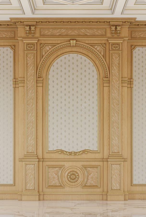 Geschnitzte Holzverkleidungen mit einer hölzernen Decke Wiedergabe 3d lizenzfreies stockfoto