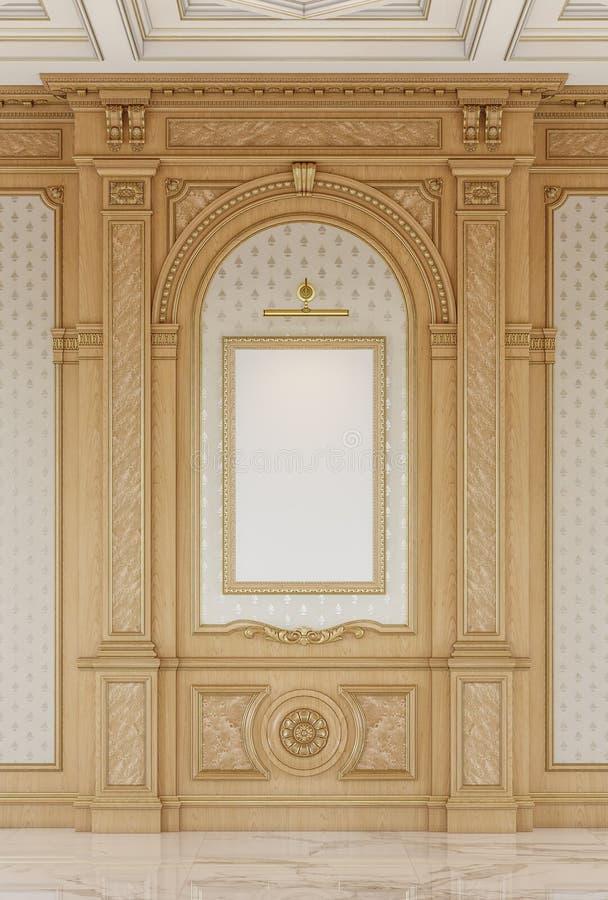 Geschnitzte Holzverkleidungen mit einer hölzernen Decke Wiedergabe 3d stockbilder