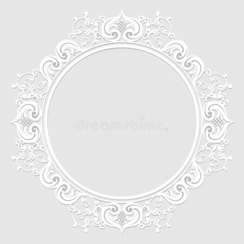 Geschnitzter Weinleserahmen gemacht vom Papier für Bild oder Foto lizenzfreie abbildung
