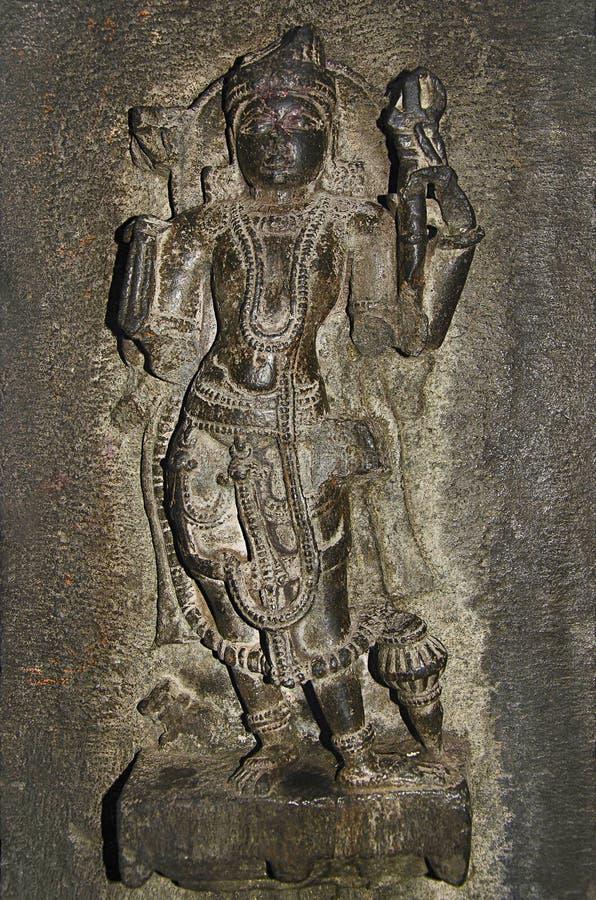 Geschnitztes Idol, Innenansicht von Bhuleshwar-Tempel, Pune, Maharashtra lizenzfreie stockfotos