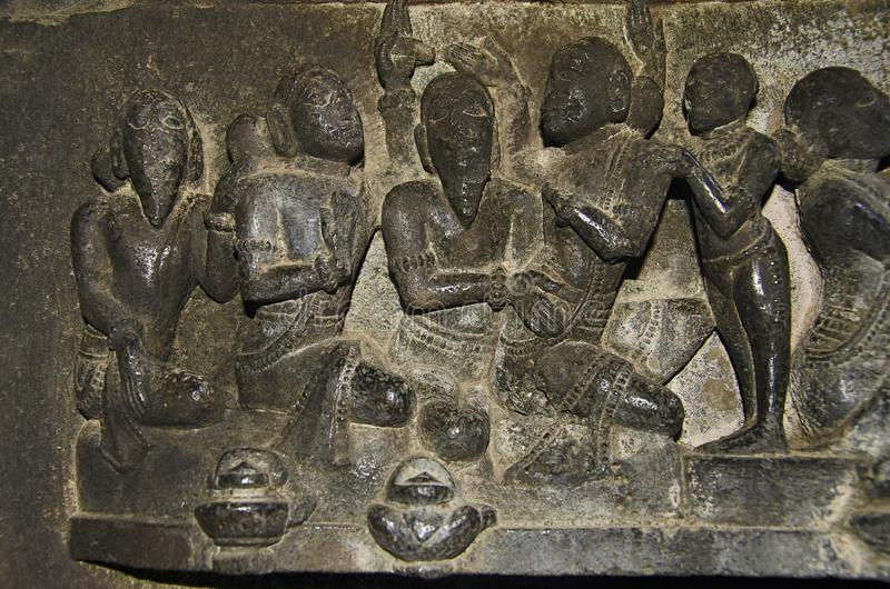 Geschnitztes Idol, Innenansicht von Bhuleshwar-Tempel, Pune, Maharashtra lizenzfreie stockbilder