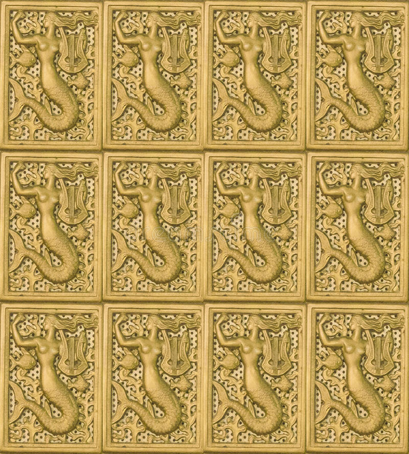 Geschnitztes symbolisches Motiv-Mosaik-Muster stockfotografie