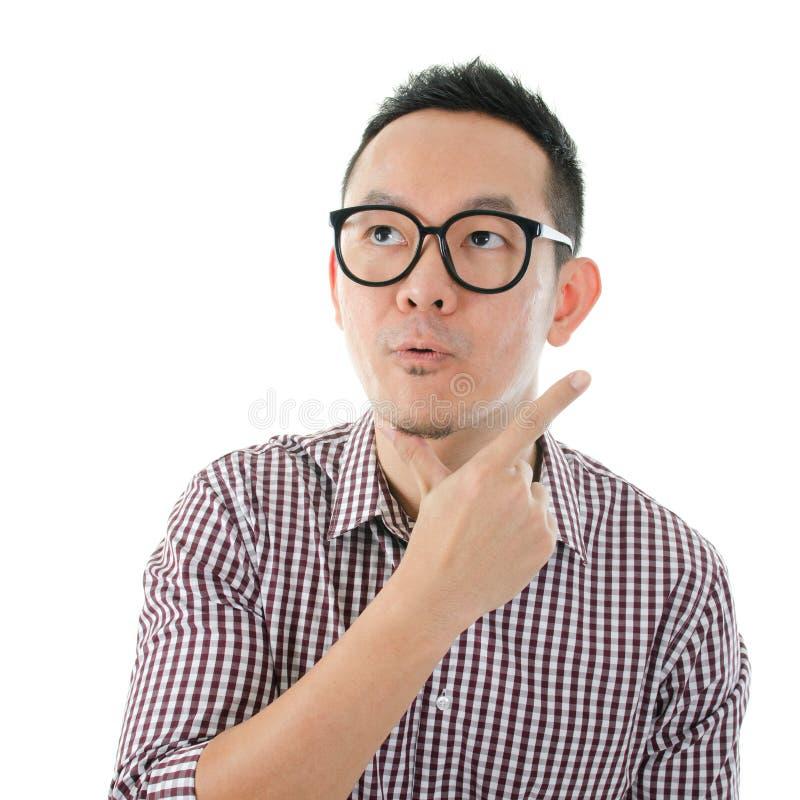Geschokt Aziatisch mannetje royalty-vrije stock fotografie
