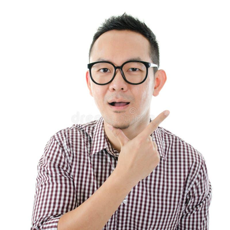 Geschokte Aziatische mens royalty-vrije stock foto's