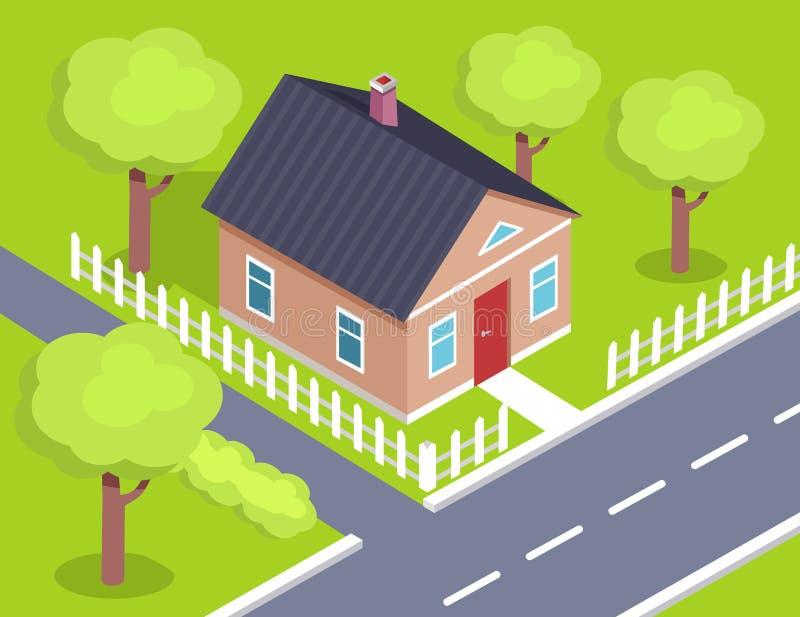 Geschoss-Haus-Seitenansicht des Häuschen-zwei mit Zaun stock abbildung