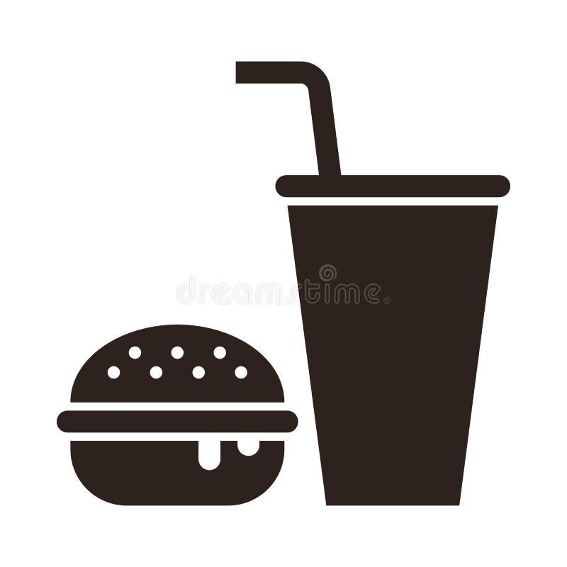 Geschossen in einem Studio Burger- und Getränkikone lizenzfreie abbildung