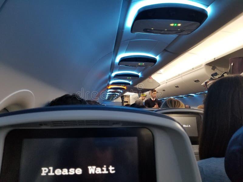 Geschoten genomen binnen van een vliegtuig royalty-vrije stock foto