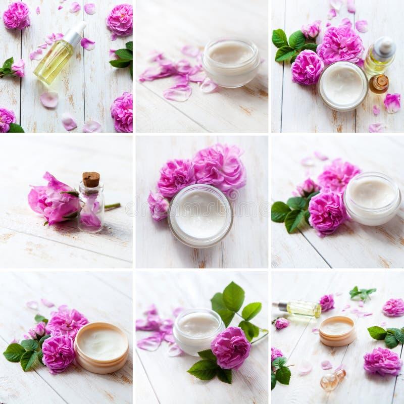 Geschoten in studio Collage van wellnessproducten stock afbeeldingen