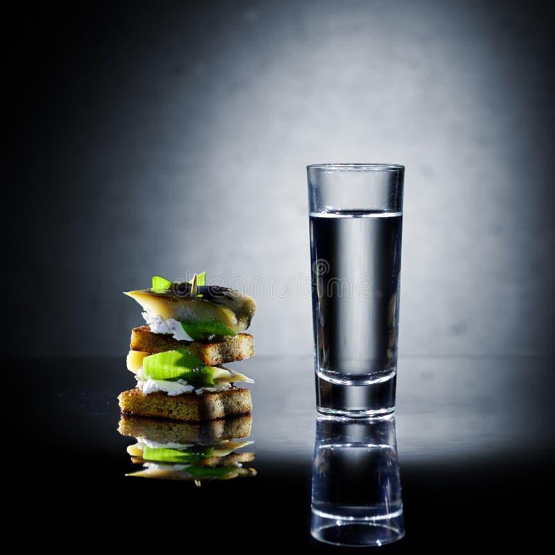 Geschoten van wodka en snack stock foto