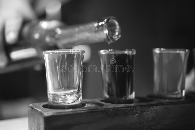 Geschotene glazen met alcoholische drank royalty-vrije stock foto