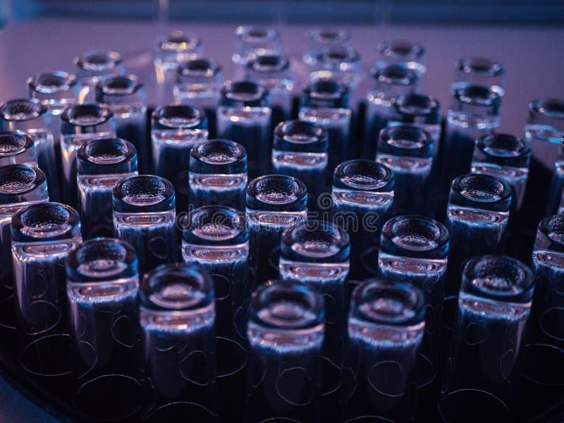 Geschotene glazen op barteller met kleurrijke verlichting stock foto's
