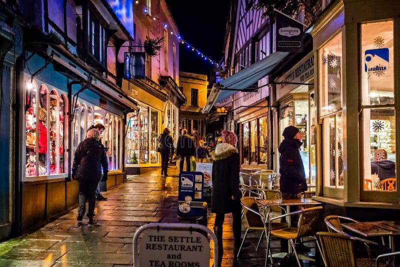 Geschotene nacht - Goedkope Straat, Frome, Somerset stock afbeelding