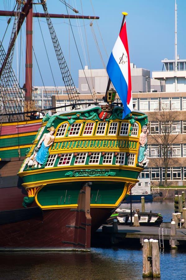 Geschraapte replica van het VOC van Amsterdam schip stock fotografie