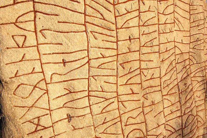 Geschreven in steen door Vikingen stock foto's