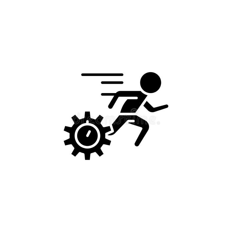 Geschwindigkeit des Erfüllungsschwarz-Ikonenkonzeptes Geschwindigkeit des flachen Vektorsymbols der Erfüllung, Zeichen, Illustrat vektor abbildung