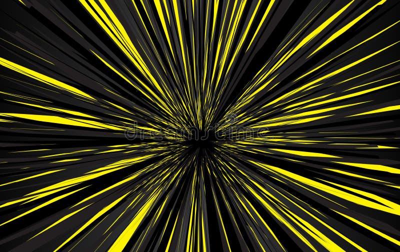 Geschwindigkeit zeichnet Hintergrund Effektbewegungslinien f?r Comic-Buch und manga Radialstrahlen mit Effektexplosion lizenzfreie abbildung