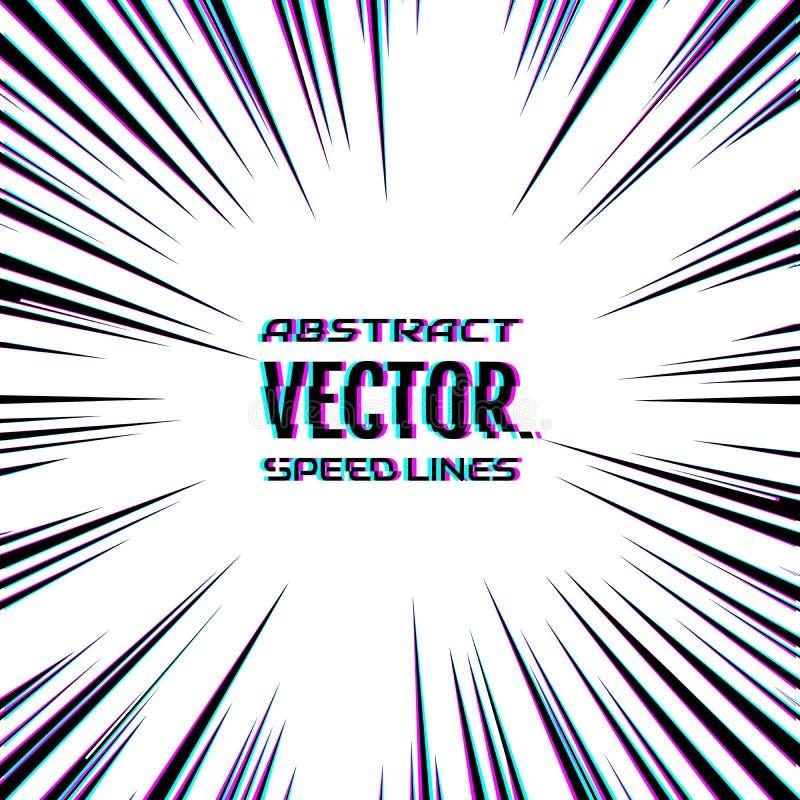 Geschwindigkeitslinien mit Störschubeffekt auf weißen Hintergrund Effektbewegungslinien f?r Comic-Buch und manga Radialstrahlen v lizenzfreie abbildung