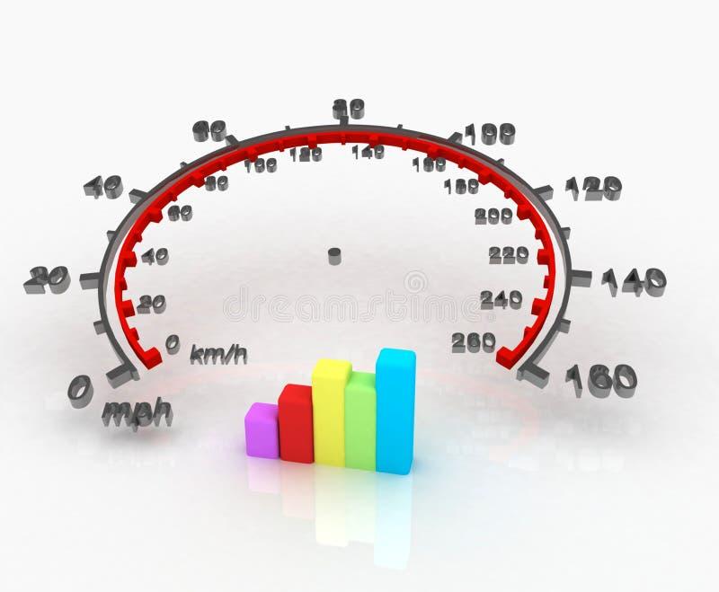 Geschwindigkeitsmesser 3D stock abbildung