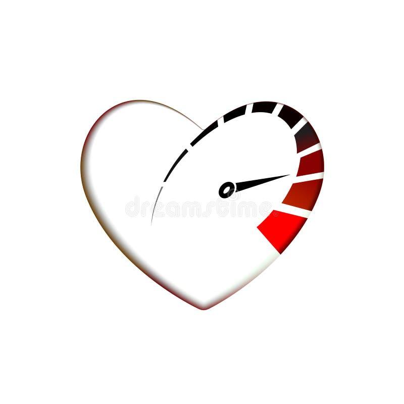 Geschwindigkeitsmesser in der Herzikone mit Pfeilgeschwindigkeit, U-/minlogoikone Laufen des Testsymbol Vektor-Schablonenliebes-  lizenzfreie abbildung