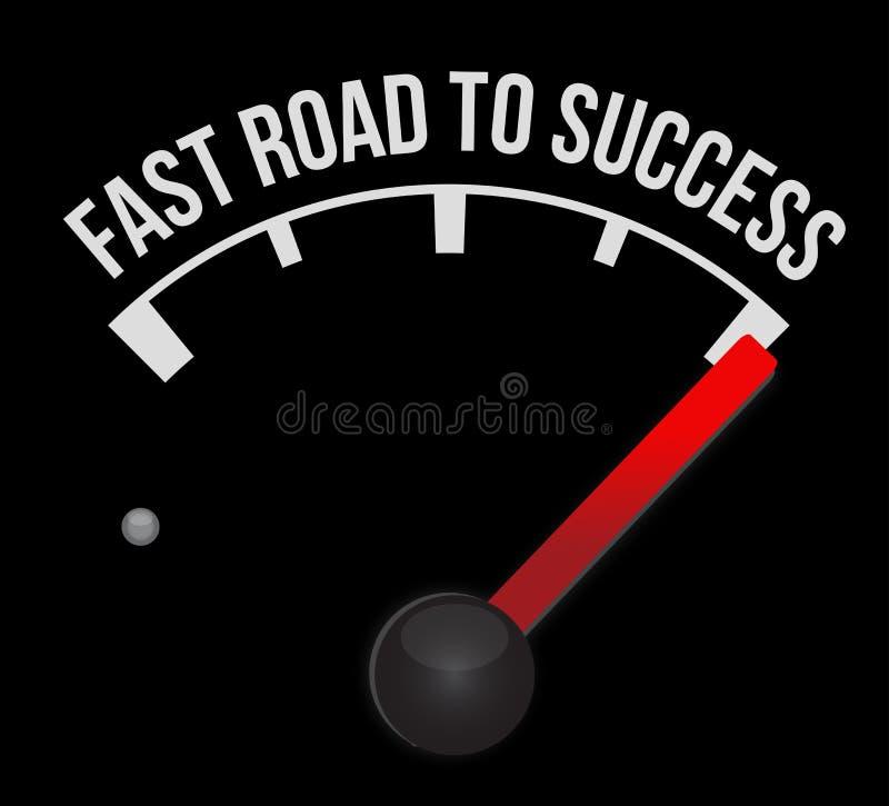 Geschwindigkeitsmesser, der schnelle Straße zum Erfolg zählt vektor abbildung
