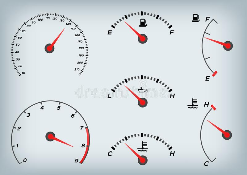Geschwindigkeitsmesser für Auto Tankanzeige und Tachometer stock abbildung