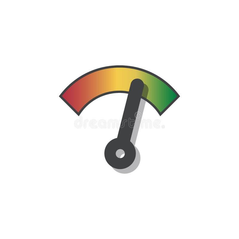 Geschwindigkeitsmesser- oder -messgerätezeichen im Infoanzeigeelement Vektor-Abbildung auf weißem Hintergrund stock abbildung