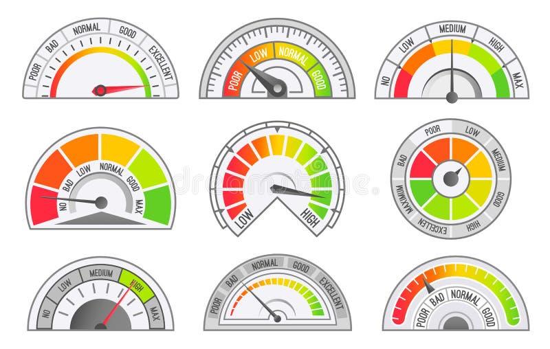 Geschwindigkeitsmesser-und Entfernungsmesser-Skalen und Zeiger-Vektor lizenzfreie abbildung