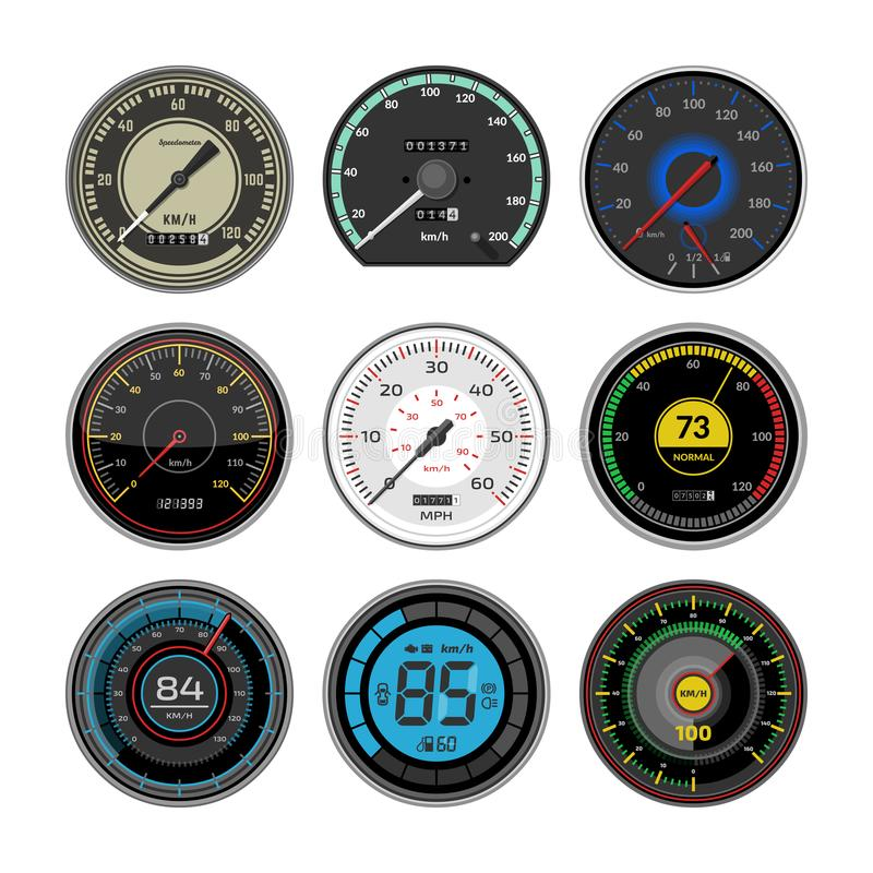 Geschwindigkeitsmesservektorautogeschwindigkeits-Armaturenbrettgremium und beschleunigen Leistungsmessungsillustrationssatz Gesch lizenzfreie abbildung