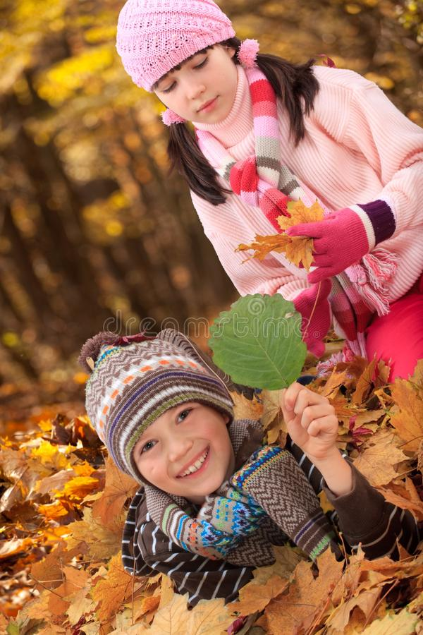Geschwister in den Herbstblättern lizenzfreies stockfoto