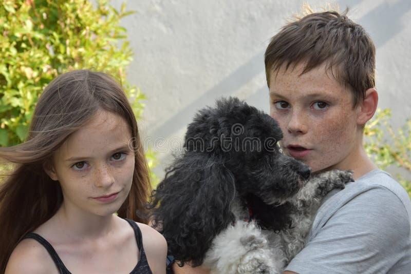 Geschwister und Hund lizenzfreie stockbilder