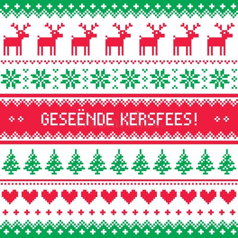 Geseende Kersfees - Wesoło boże narodzenia w Afrikaans powitań karcie, bezszwowy wzór ilustracja wektor