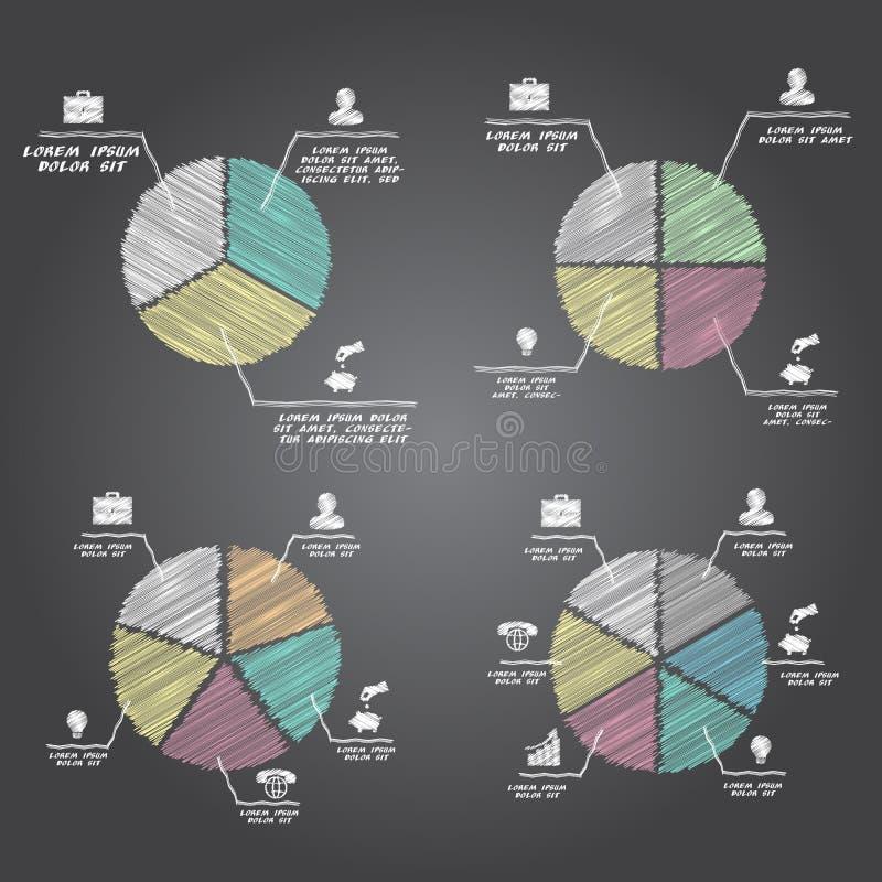 Gesegmenteerde en multicolored geplaatste cirkeldiagrammen royalty-vrije illustratie