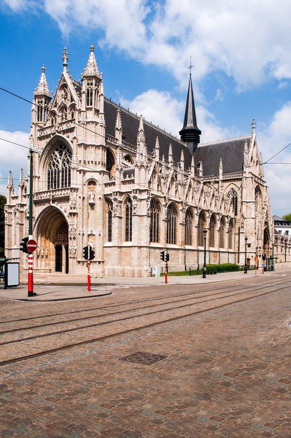 Gesegnete Dame der Sablon-Kirche in Brüssel, Belgien stockfotografie