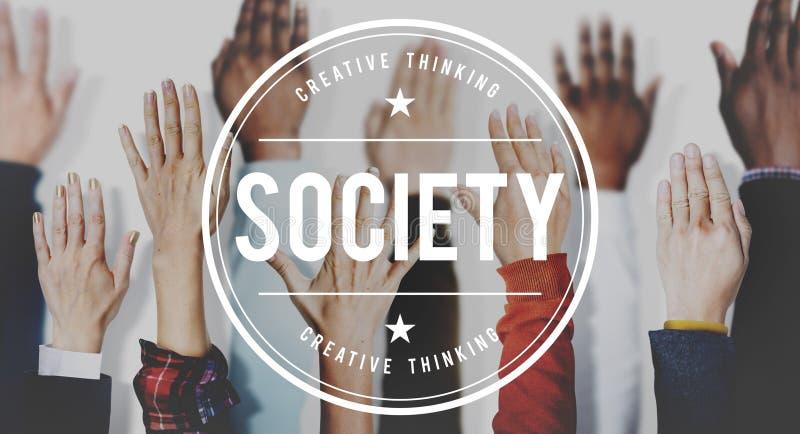 Gesellschafts-Verbindungs-Verschiedenartigkeits-Gemeinschaftsmenschliches Handkonzept lizenzfreies stockbild