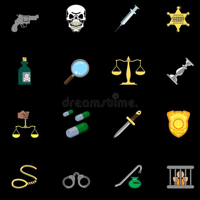 Gesetz-, Ordnungs-, Polizei- und Verbrechenikonenserienset lizenzfreie abbildung