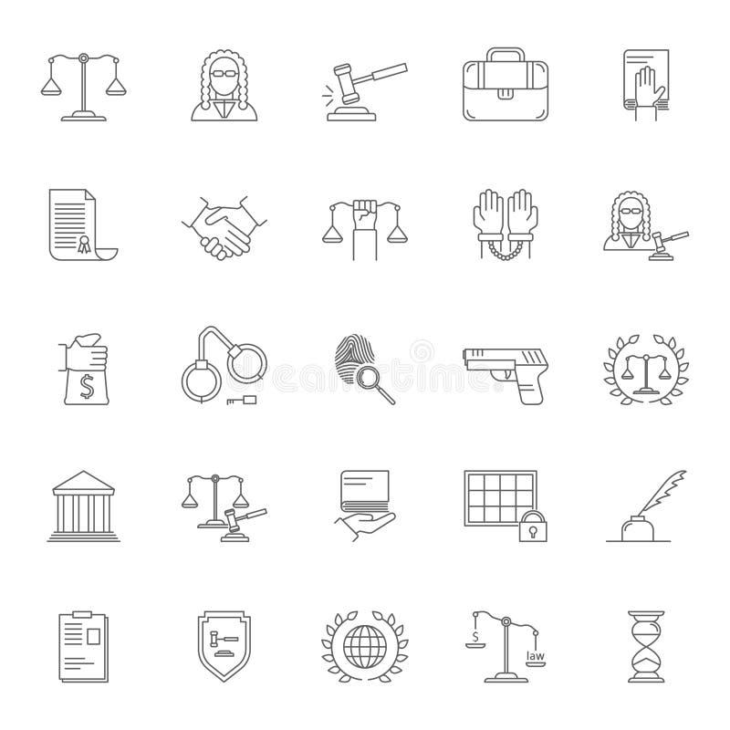 Gesetz und Rechtsanwalt-Signs Black Thin-Linie Ikonen-Satz Vektor lizenzfreie abbildung