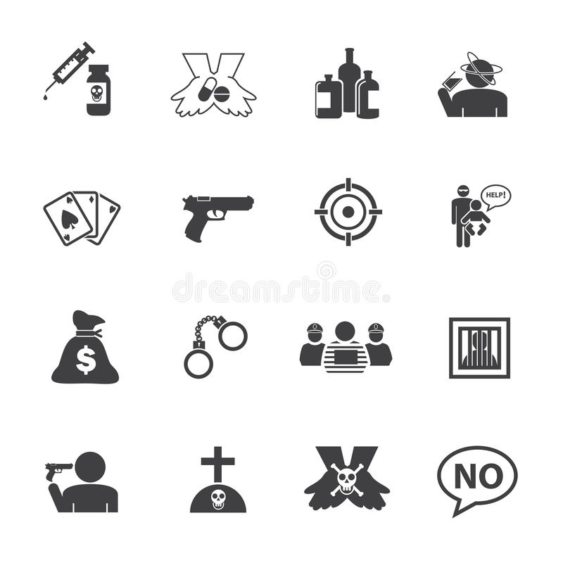 Gesetz und Verbrecher Einfache Drogen-und Verbrechen-Ikonen eingestellt lizenzfreie abbildung