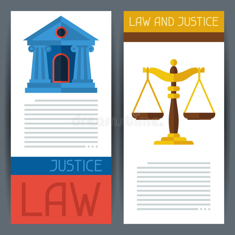Gesetzes- und der Gerechtigkeithorizontale Fahnen im flachen Design vektor abbildung