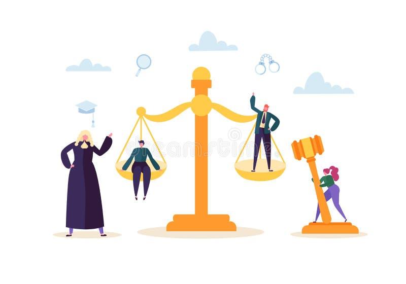Gesetzes-und Gerechtigkeits-Konzept mit Charakteren und Gerichtselementen, Hammer, Rechtsanwalt Urteil-und Gerichts-Jury-Leute vektor abbildung