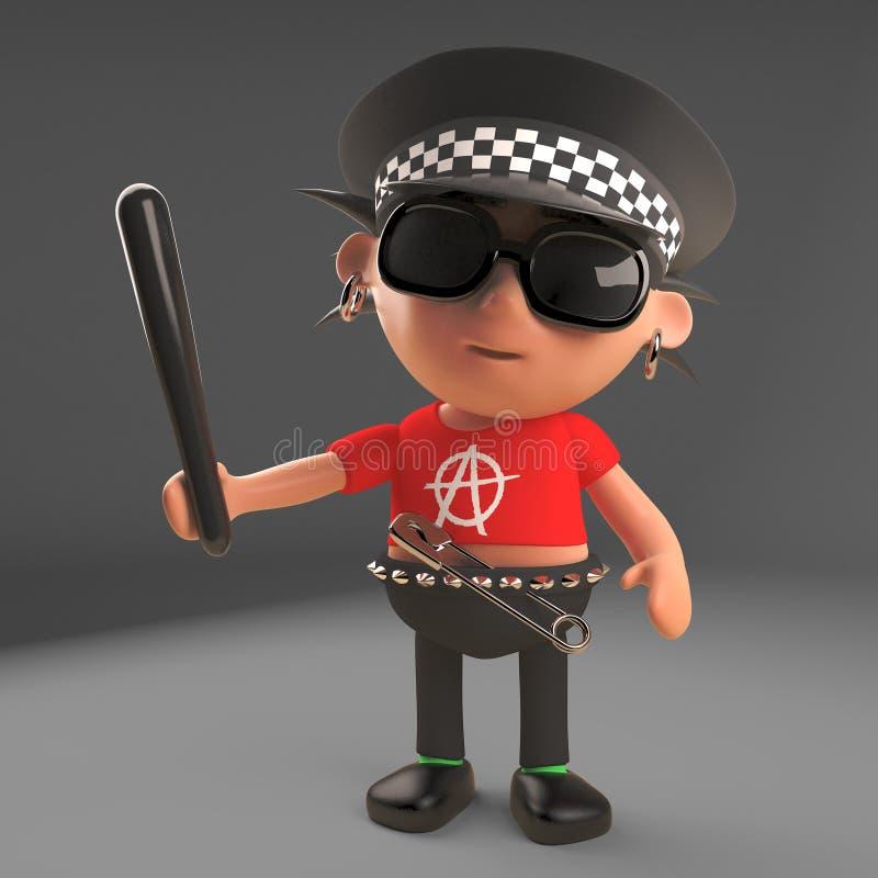 Gesetzestreuer Punkrockercharakter gekleidet als Polizist mit Schlagstock, Illustration 3d vektor abbildung