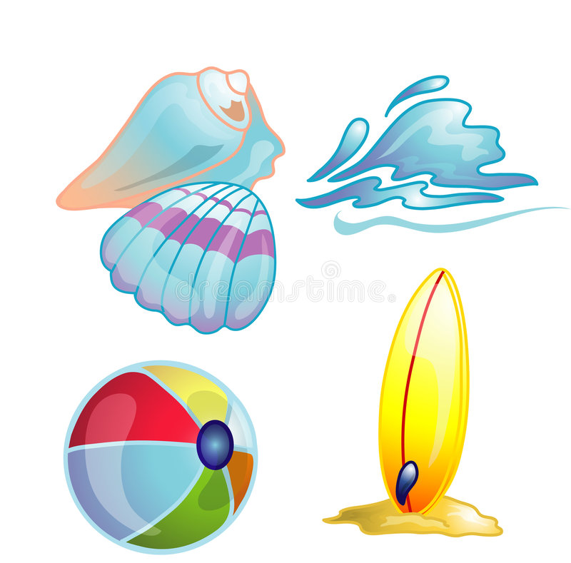 Gesetzte Abbildung der Strandikone stock abbildung