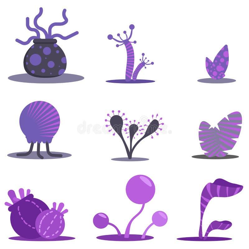 Gesetzte Anlagen der Fantasieebene Violette Blumen und Bäume stock abbildung